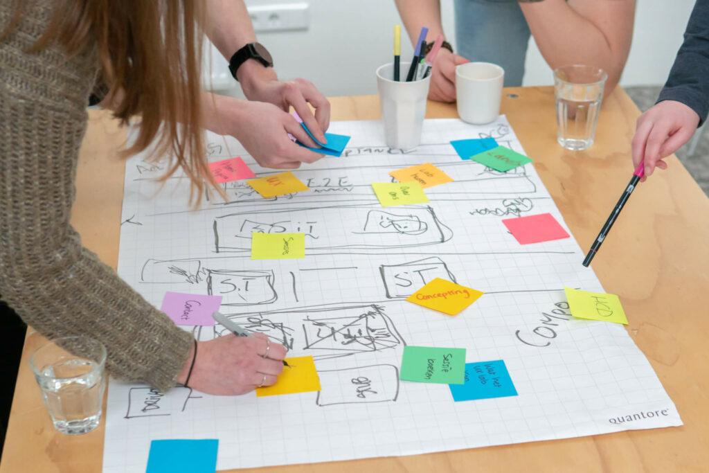 Collega's zijn bezig met het visualiseren van een strategie
